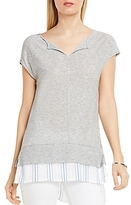 Vince Camuto Split Neck Layered Look Tee