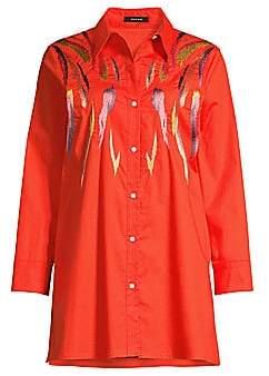 Natori Women's Embroidered Stretch Cotton Tunic Shirt