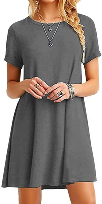 YMING Women's Long Shirt Oversized Dress Short Sleeve Dress Casual T-Shirt Dress Green XXXXL/22
