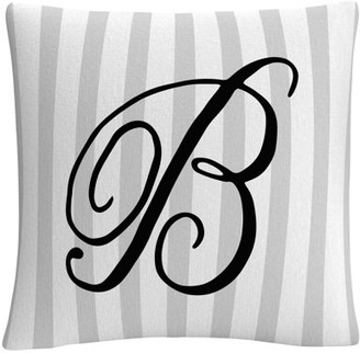 Trademark Art Gray Striped Ornate Letter Script B By Abc 16 X 16 Decorative Throw Pillow