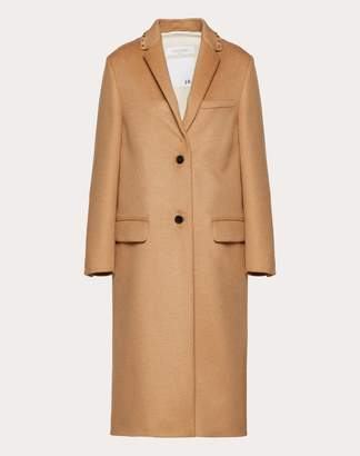 Valentino Rockstud Untitled Camel Coat Women Camel Camel Wool 100% 40