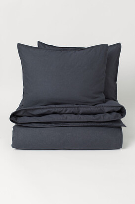 H&M Washed Cotton Duvet Cover Set - Gray