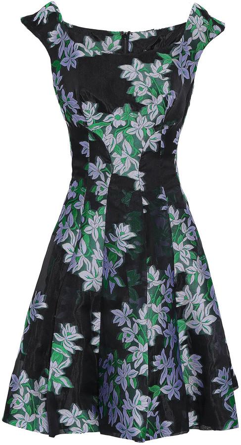 Zac Posen Flared Floral-jacquard Mini Dress