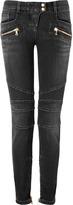 Balmain Low Rise Biker Jeans in Black