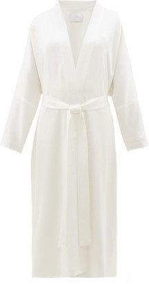 ASCENO Silk-satin Robe - White