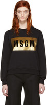 MSGM Black Metallic Block Logo Pullover