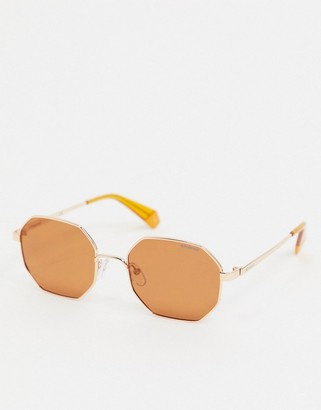 Polaroid angular round sunglasses in gold and orange