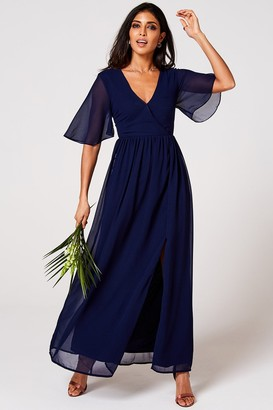 N. Rock Roll Bride Rock Roll Bride Iris Navy Mock Wrap Maxi Dress