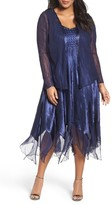 Komarov Plus Size Women's Embellished Charmeuse & Chiffon Dress With Jacket