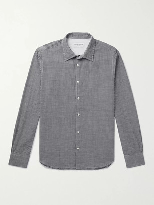 Officine Generale Giacomo Gingham Cotton And Linen-Blend Shirt