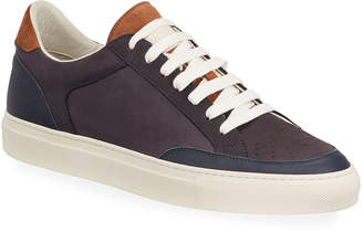 Brunello Cucinelli Men's Colorblock Suede and Leather Court Sneakers