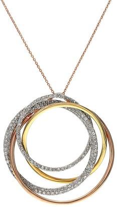 Effy 14K Tri-Tone Gold Diamond Circle Pendant Necklace
