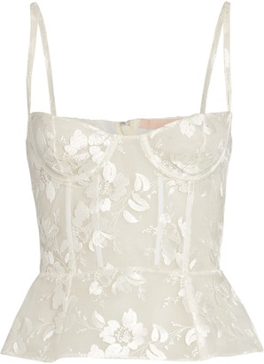 Brock Collection Floral Embroidered Bustier Top