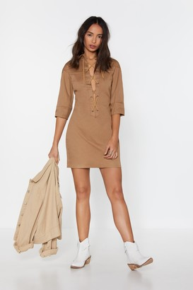 Nasty Gal Womens The String Theory Lace-Up Shirt Dress - Stone