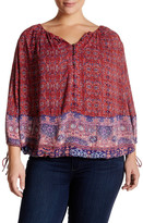 Lucky Brand 3/4 Length Sleeve Tapestry Print Blouse (Plus Size)