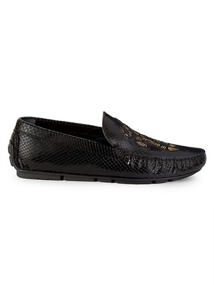 Roberto Cavalli Embroidered Snakeskin-Embossed Leather Loafers