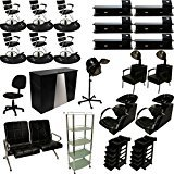 LCL Beauty Professional 6 Station Package Contemporary Styling Chair & Station, Backwash Unit, Anti Fatigue Mats Complete Salon Spa Beauty Equipment