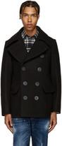 DSQUARED2 Black Wool Peacoat