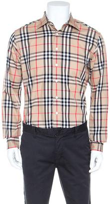 Burberry Beige Nova Check Cotton Long Sleeve Button Front Shirt M