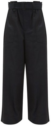 Issey Miyake Flared-leg Cotton-blend Trousers - Womens - Black Navy