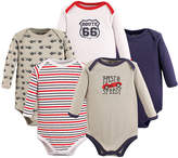 Luvable Friends Taupe 'Fast & Speedy' Long-Sleeve Bodysuit Set - Infant
