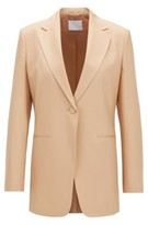HUGO BOSS - Relaxed Fit Jacket In Silk Poplin With Slit Cuffs - Light Brown
