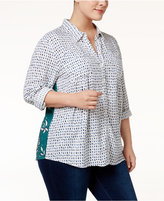 Style&Co. Style & Co Plus Size Mixed-Print Shirt, Only at Macy's