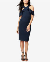 Rachel Roy Ruffled Scuba Cold-Shoulder Dress