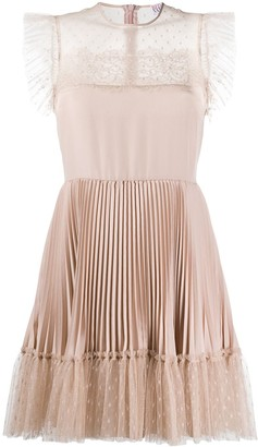 RED Valentino Pleated Pois Mesh Dress