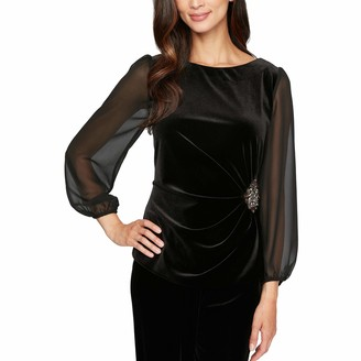 Alex Evenings Women's Blouse with Embellished Ruched Waist
