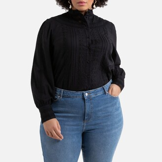La Redoute Collections Plus Cotton High-Neck Blouse with Lace Details