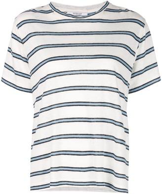 Derek Lam 10 Crosby Short Sleeve Linen Striped Jersey Tee with Slit Detail