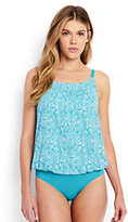 Lands' End Women's Long Blouson One Piece Swimsuit-Scuba Blue Bandana Paisley