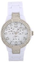 GUESS Women's W13564L1 White Plastic Band And Case Gem Accents Watch