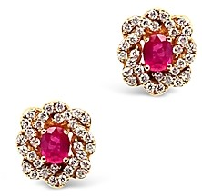 Bloomingdale's Ruby and Diamond Oval Stud Earrings in 14K Rose Gold - 100% Exclusive