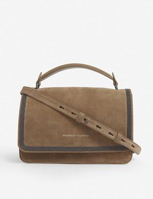 Brunello Cucinelli Bead-embellished suede shoulder bag