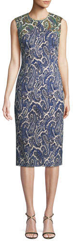 Diane von Furstenberg Paisley-Print Sleeveless Midi Sheath Dress