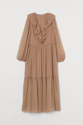 H&M Long Tiered Dress - Beige