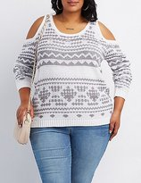 Charlotte Russe Plus Size Patterned Cold Shoulder Sweater