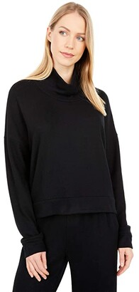 Splendid Lena Mock Neck Super Soft Brushed Side Out Sweatshirt (Black) Women's Clothing