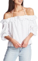 1 STATE 1.State Ruffle Halter Neck Clip Dot Top