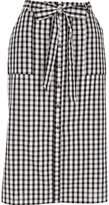 River Island Womens Black gingham button through midi skirt