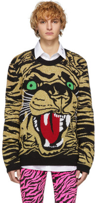 Gucci Black and Gold Jacquard Tiger Sweater