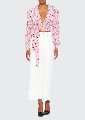 Floral-Print Self-Tie Cropped Blouse