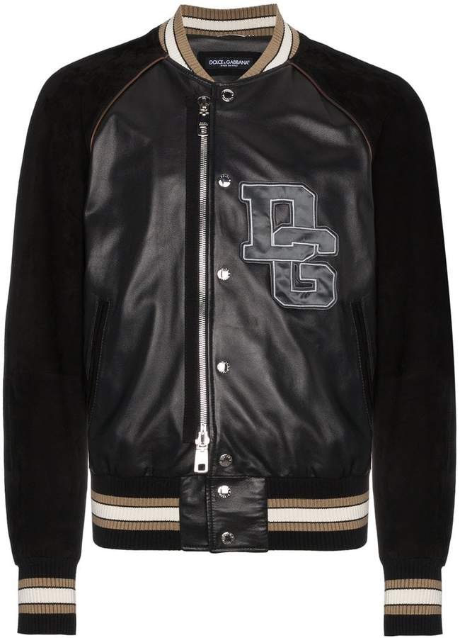 Dolce & Gabbana Leather bomber jacket with logo