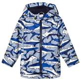 Joules Blue Shark and Stripe Printed Rubber Raincoat