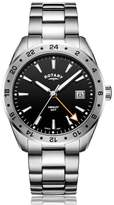 Rotary Watches Rotary Mens Stainless Steel Black Dial Gmt Henley