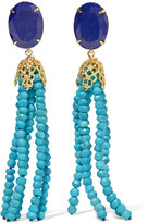 Bounkit Convertible gold-tone bead and lapis earrings
