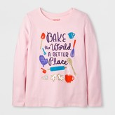 Cat & Jack Girls' Long Sleeve Baking Graphic T-Shirt - Cat & Jack Pink