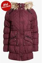 Select Fashion Fashion Womens Red Long Quilted Puffa Coat - size 8